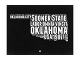 Oklahoma Black and White Map Print by  NaxArt