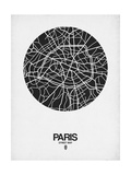 Paris Street Map Black on White Affischer av  NaxArt