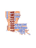 Louisiana Word Cloud Map Art by  NaxArt
