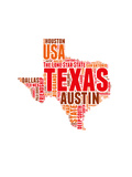 Texas Word Cloud Map Art by  NaxArt