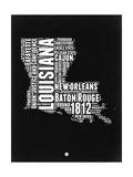 Louisiana Black and White Map Art by  NaxArt
