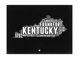Kentucky Black and White Map Posters by  NaxArt