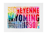 Wyoming Watercolor Word Cloud Poster by  NaxArt