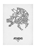 Athens Street Map White Posters by  NaxArt