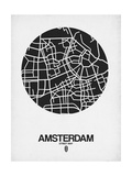 Amsterdam Street Map Black and White Prints by  NaxArt