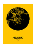 Helsinki Street Map Yellow Prints by  NaxArt