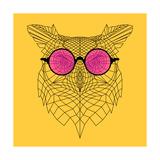 Owl in Pink Glasses Kunst van Lisa Kroll