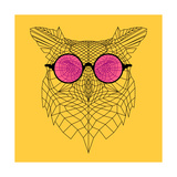 Owl in Pink Glasses Poster by Lisa Kroll