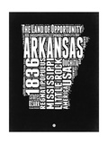 Arkansas Black and White Map Prints by  NaxArt