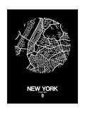 New York Street Map Black Art by  NaxArt