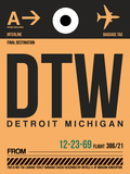 DTW Detroit Luggage Tag 1 Plastic Sign by  NaxArt