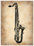 Vintage Saxophone Plastic Sign by  NaxArt