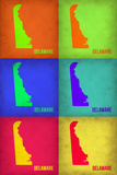 Delaware Pop Art Map 1 Plastic Sign by  NaxArt