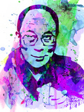 Dalai Lama Watercolor Plastic Sign by Anna Malkin
