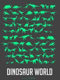 Dinosaur Poster Green Plastic Sign by  NaxArt