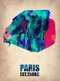 Paris Watercolor Map Plastic Sign by  NaxArt