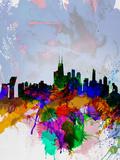 Copenhagen Watercolor Skyline Cartel de plástico por NaxArt