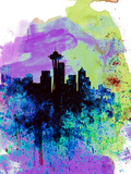 Seattle Watercolor Skyline 1 Plastic Sign by  NaxArt