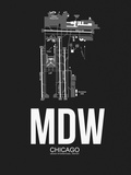 MDW Chicago Airport Black Plastic Sign by  NaxArt