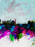 Istanbul Watercolor Skyline Plastic Sign by  NaxArt