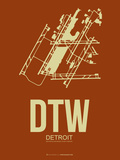 Dtw Detroit Poster 2 Plastic Sign by  NaxArt