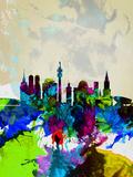 Munich Watercolor Skyline Plastic Sign by  NaxArt