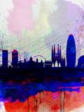 Barcelona Watercolor Skyline 2 Plastskilt av  NaxArt