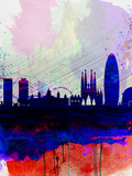Barcelona Watercolor Skyline 2 Plastic Sign by  NaxArt