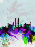 Kuala Lumpur Watercolor Skyline Plastic Sign by  NaxArt