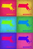 Massachusetts Pop Art Map 1 Plastic Sign by  NaxArt