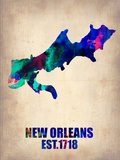 New Orleans Watercolor Map Plastic Sign by  NaxArt