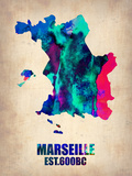 Marseille Watercolor Poster Plastic Sign by  NaxArt
