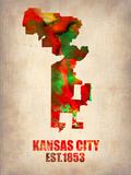 Kansas City Watercolor Map Plastic Sign by  NaxArt