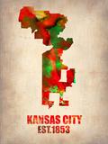 Kansas City Watercolor Map Plastic Sign by  NaxArt