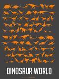 Dinosaur Poster Orange Plastic Sign by  NaxArt