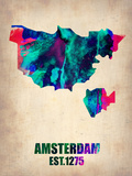 Amsterdam Watercolor Map Plastic Sign by  NaxArt