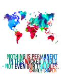 World Map Quote Charlie Chaplin Plastic Sign by  NaxArt