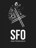 SFO San Francisco Airport Black Plastic Sign by  NaxArt