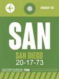 SAN San Diego Luggage Tag 2 Plastic Sign by  NaxArt