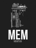 MEM Memphis Airport Black Plastic Sign by  NaxArt