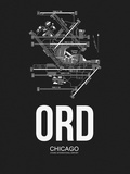 ORD Chicago Airport Black Plastic Sign by  NaxArt