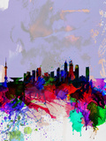 Shanghai Watercolor Skyline Plastic Sign by  NaxArt