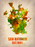 San Antonio Watercolor Map Plastic Sign by  NaxArt