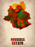 Brussels Watercolor Map Plastic Sign by  NaxArt