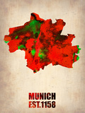 Munich Watercolor Map Plastic Sign by  NaxArt