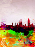 Barcelona Watercolor Skyline Plastskilt av  NaxArt