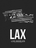 LAX Los Angeles Airport Black Plastic Sign by  NaxArt