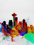 Seattle Watercolor Skyline 2 Plastic Sign by  NaxArt