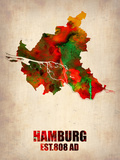 Hamburg Watercolor Map Plastic Sign by  NaxArt