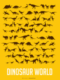 Dinosaur Poster Yellow Plastic Sign by  NaxArt